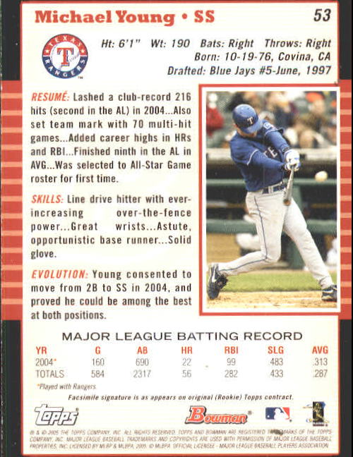 2005 Bowman #53 Michael Young back image