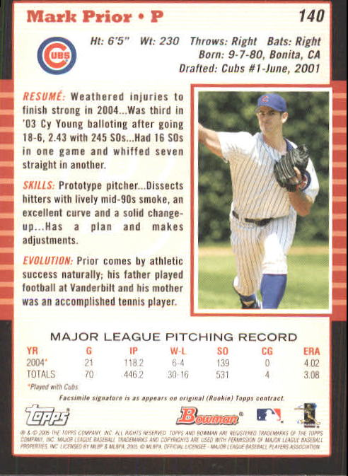 2005 Bowman #140 Mark Prior back image