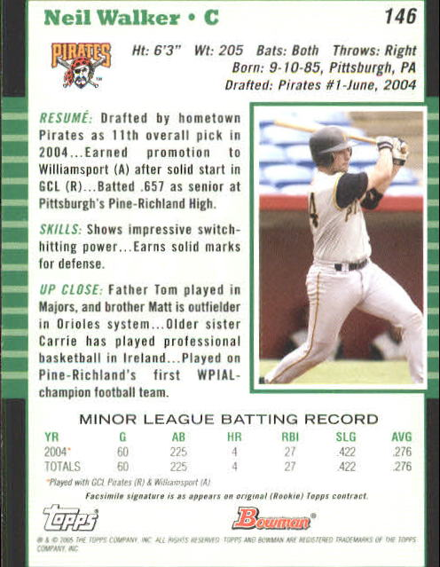 2005 Bowman #146 Neil Walker back image