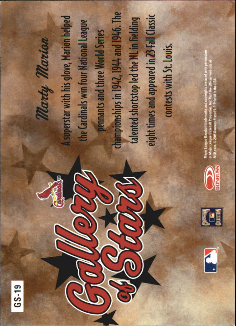2005 Diamond Kings Gallery of Stars #19 Marty Marion back image