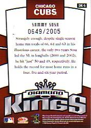 2005 Donruss Diamond Kings Inserts #5 Sammy Sosa back image
