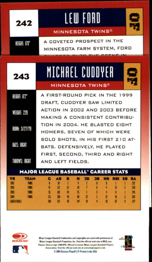 2005 Donruss #242 Lew Ford back image