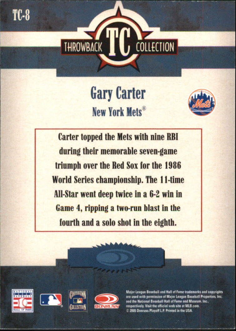 2005 Throwback Threads Throwback Collection #8 Gary Carter