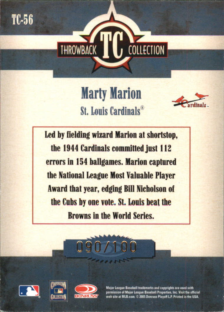 2005 Throwback Threads Throwback Collection Spectrum #56 Marty Marion back image
