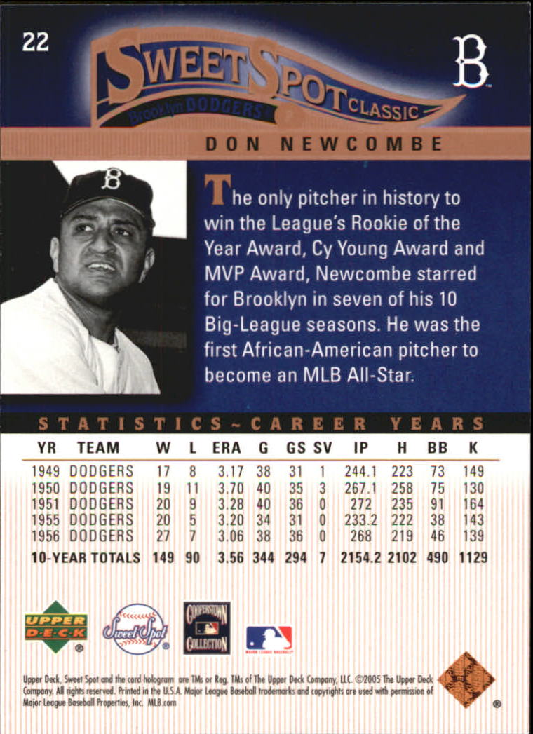 2005 Sweet Spot Classic #22 Don Newcombe back image