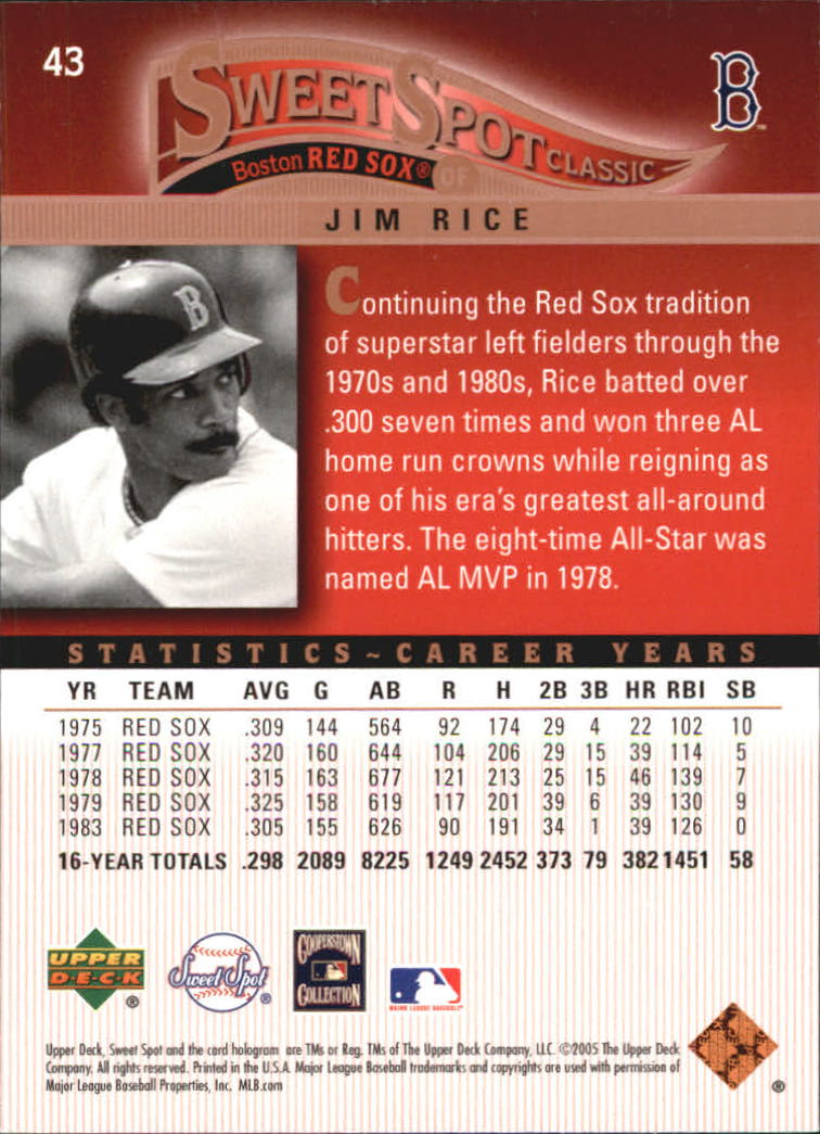 2005 Sweet Spot Classic #43 Jim Rice back image