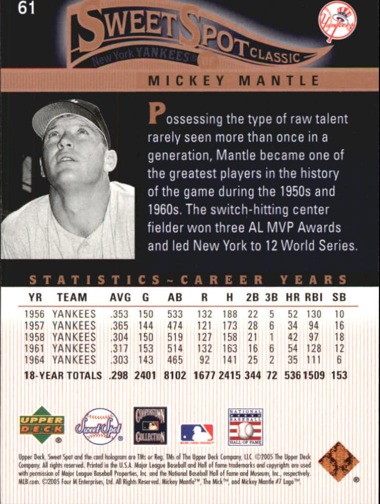 2005 Sweet Spot Classic #61 Mickey Mantle back image