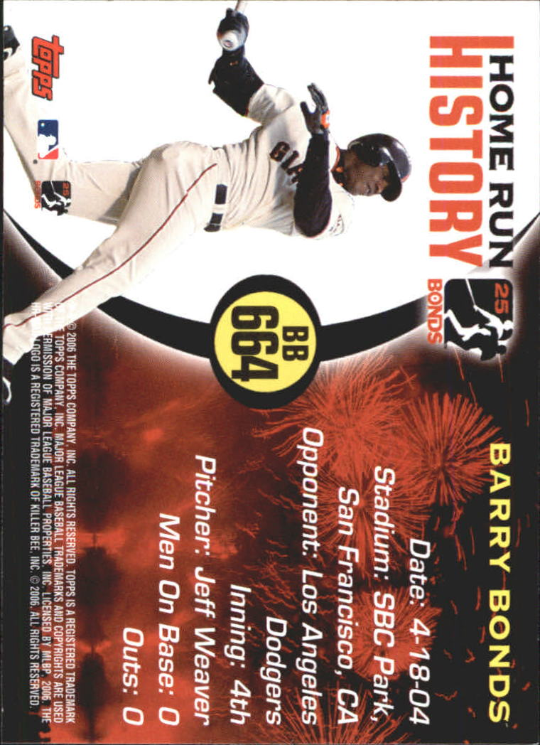 2005 Topps Barry Bonds Home Run History #664 Barry Bonds HR664 back image