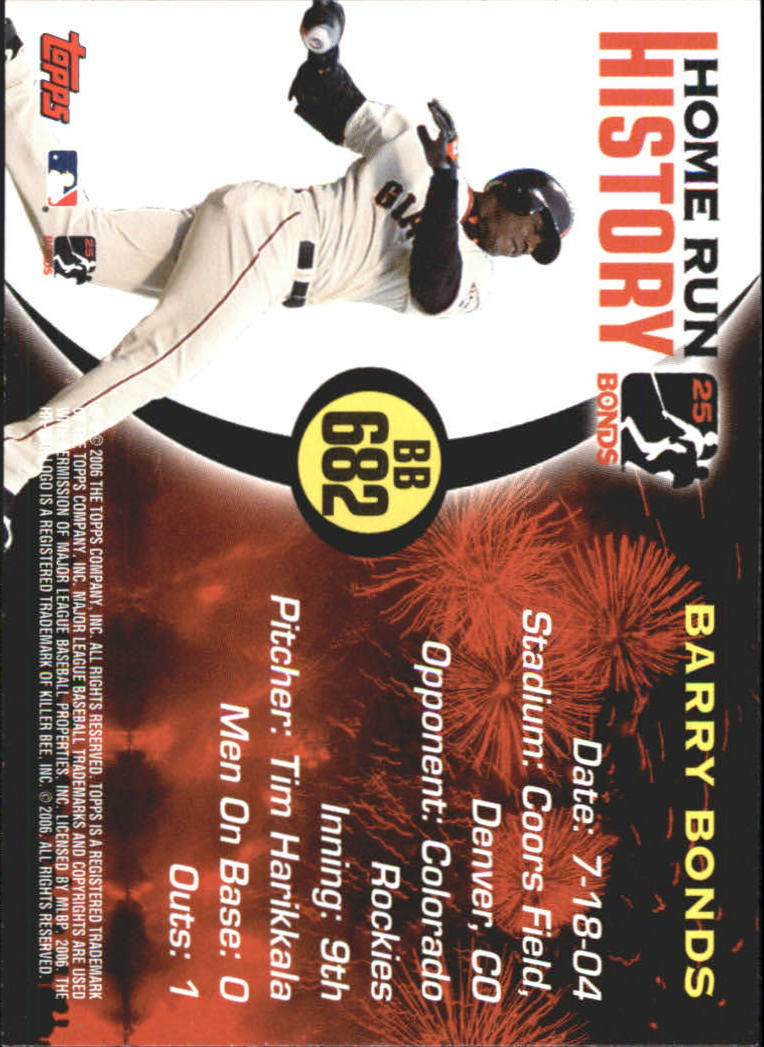 2005 Topps Barry Bonds Home Run History #682 Barry Bonds HR682 back image