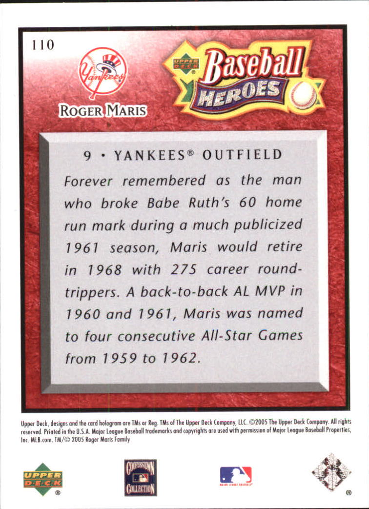 2005 Upper Deck Baseball Heroes Red #110 Roger Maris HDR