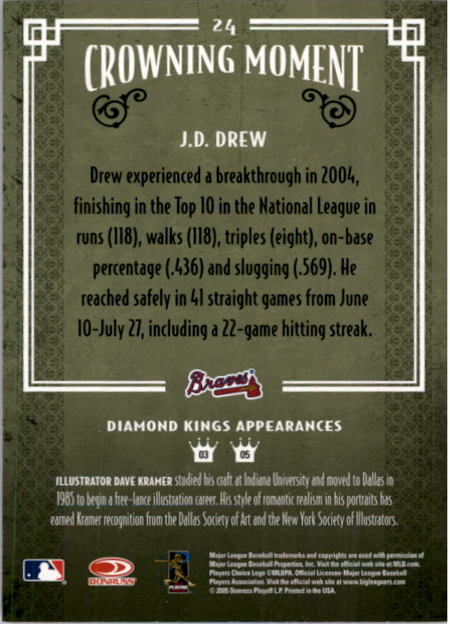 2005 Diamond Kings #24 J.D. Drew back image