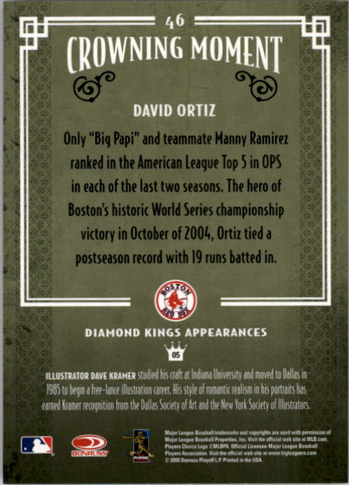 2005 Diamond Kings #46 David Ortiz back image
