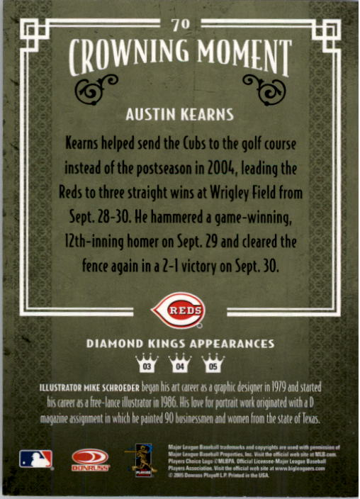 2005 Diamond Kings #70 Austin Kearns back image
