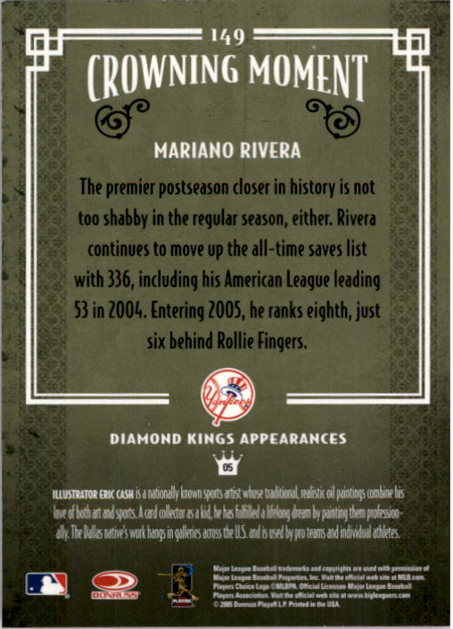 2005 Diamond Kings #149 Mariano Rivera back image