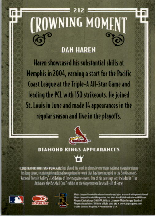2005 Diamond Kings #212 Dan Haren back image