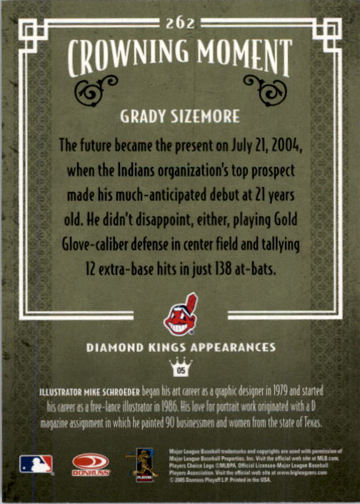 2005 Diamond Kings #262 Grady Sizemore back image