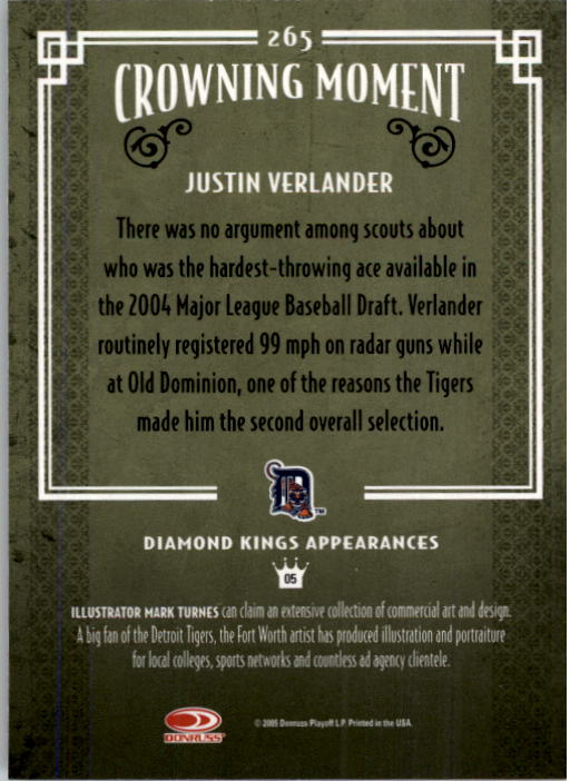 2005 Diamond Kings #265 Justin Verlander RC back image