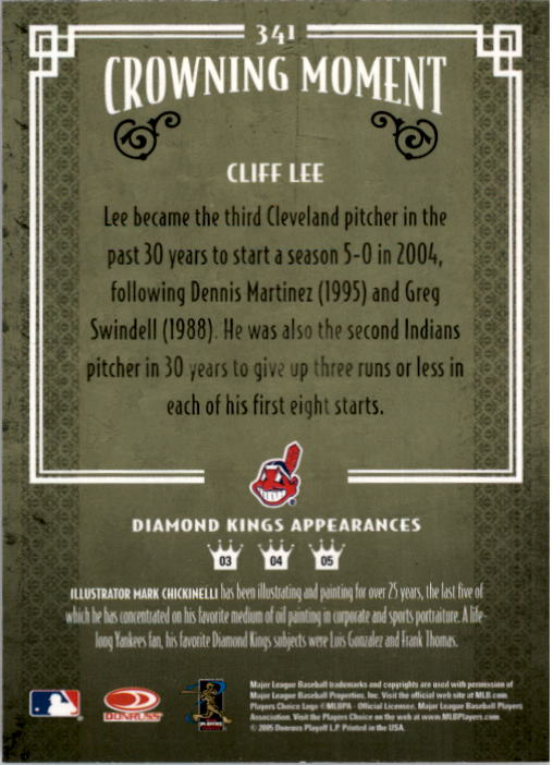 2005 Diamond Kings #341 Cliff Lee back image