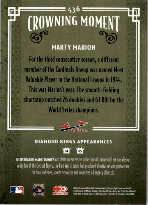 2005 Diamond Kings #436 Marty Marion back image
