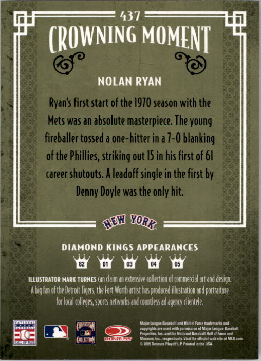 2005 Diamond Kings #437 Nolan Ryan back image