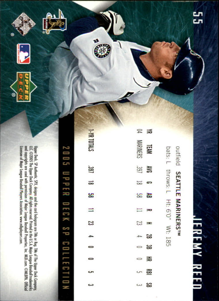 2005 SPx #55 Jeremy Reed back image