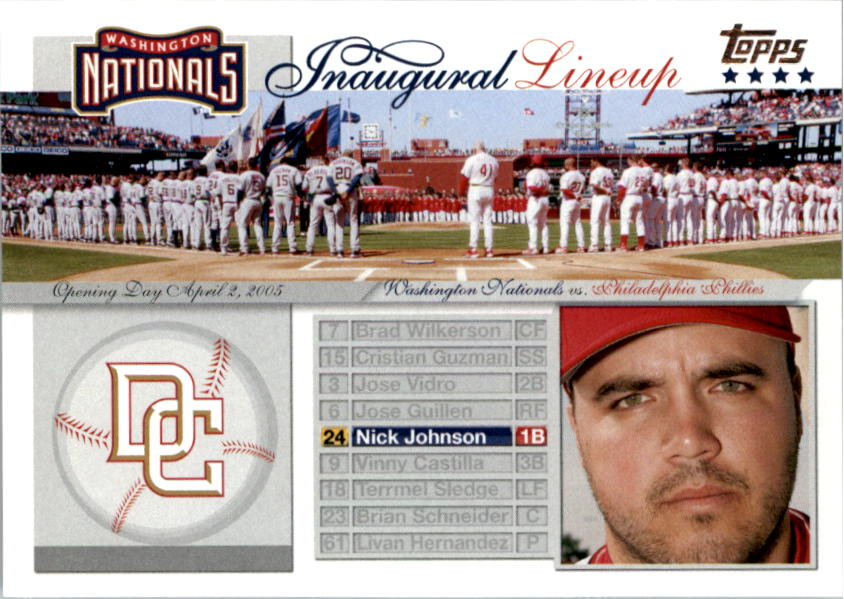 2005 Topps Update Washington Nationals Inaugural Lineup #NJ Nick Johnson