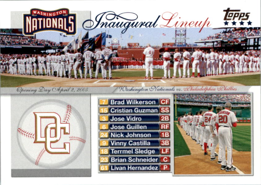 2005 Topps Update Washington Nationals Inaugural Lineup #TEAM Team Photo