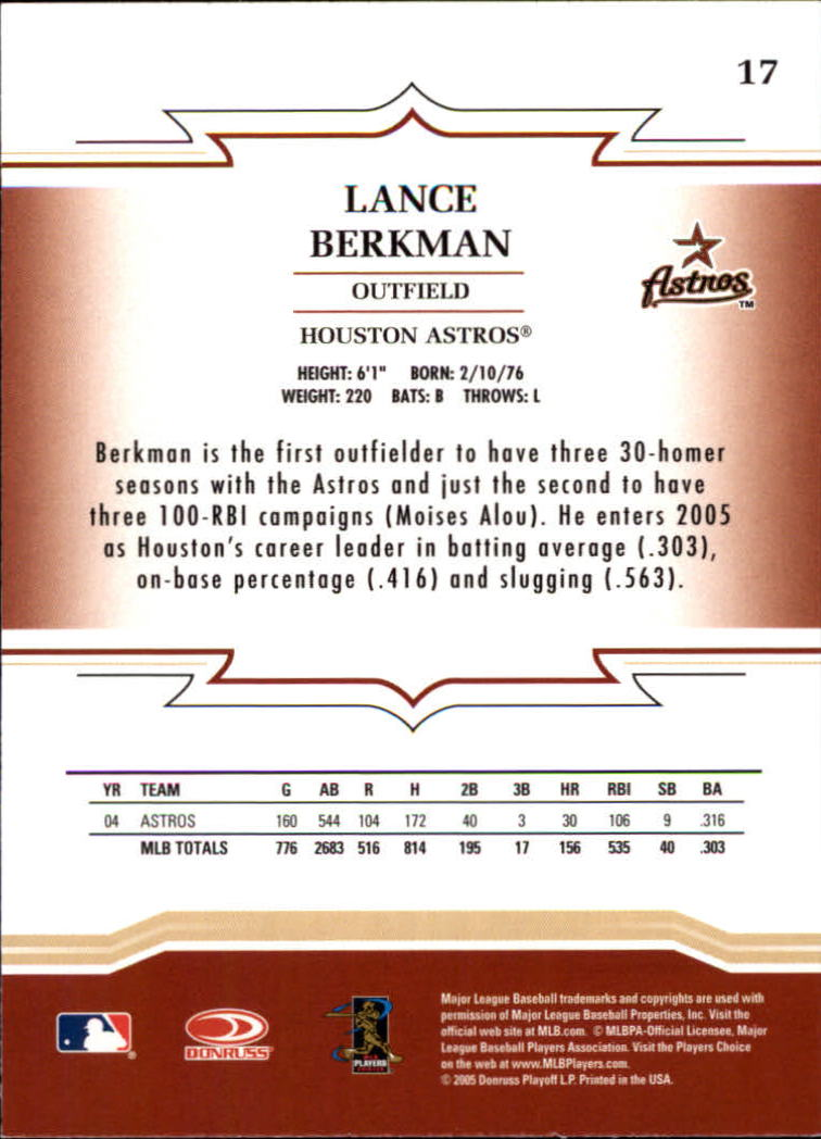 2005 Throwback Threads #17 Lance Berkman back image