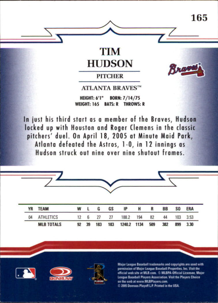 2005 Throwback Threads #165 Tim Hudson back image
