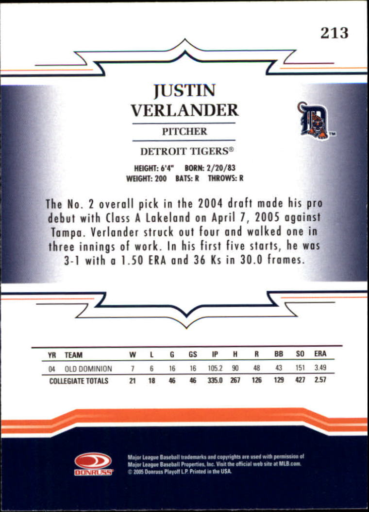 2005 Throwback Threads #213 Justin Verlander RC back image