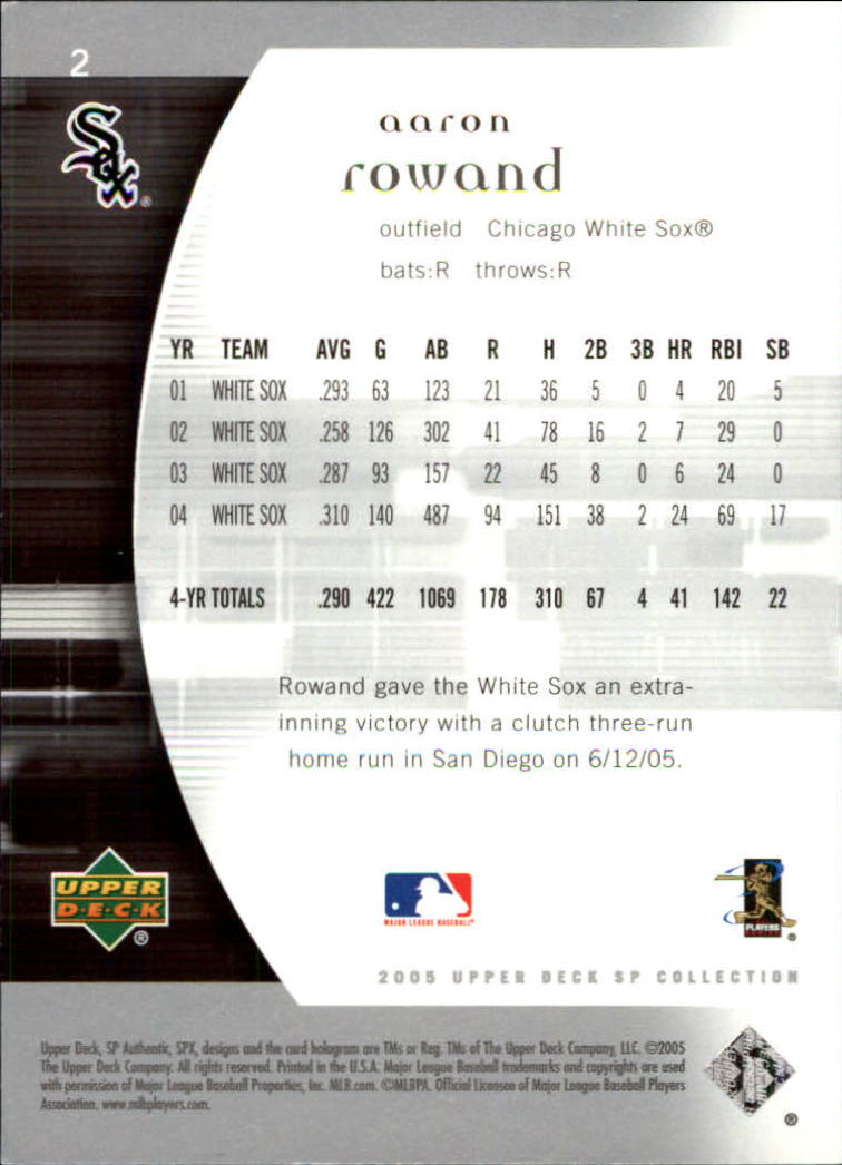 2005 SP Authentic #2 Aaron Rowand back image