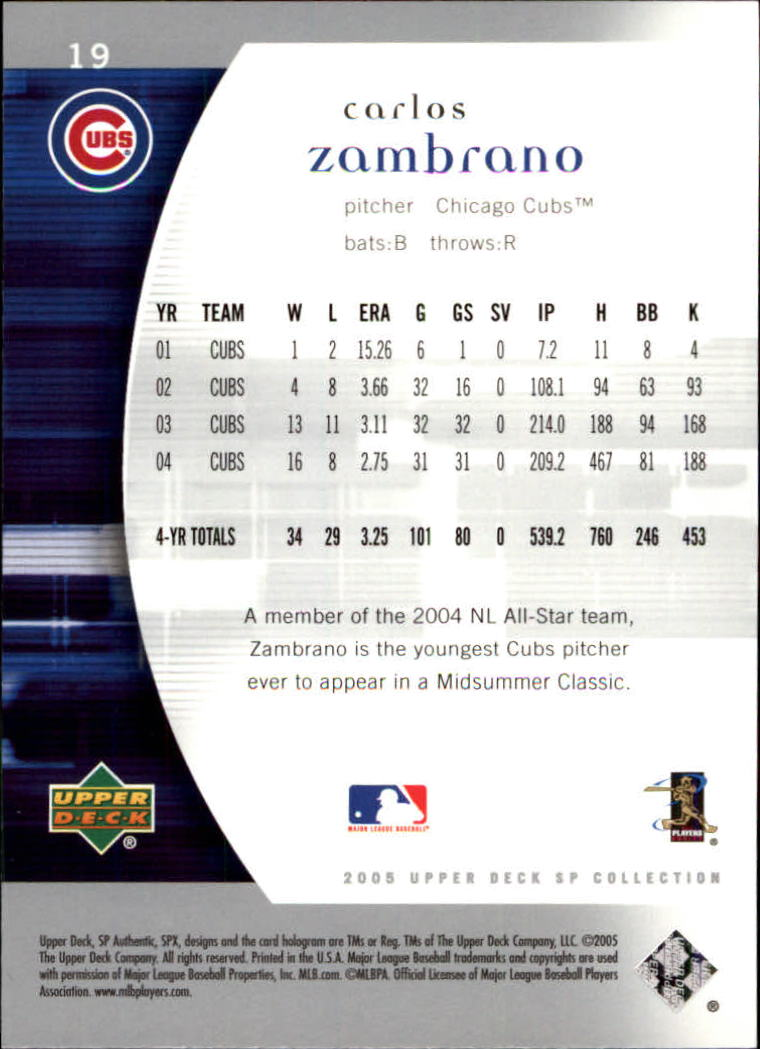 2005 SP Authentic #19 Carlos Zambrano back image
