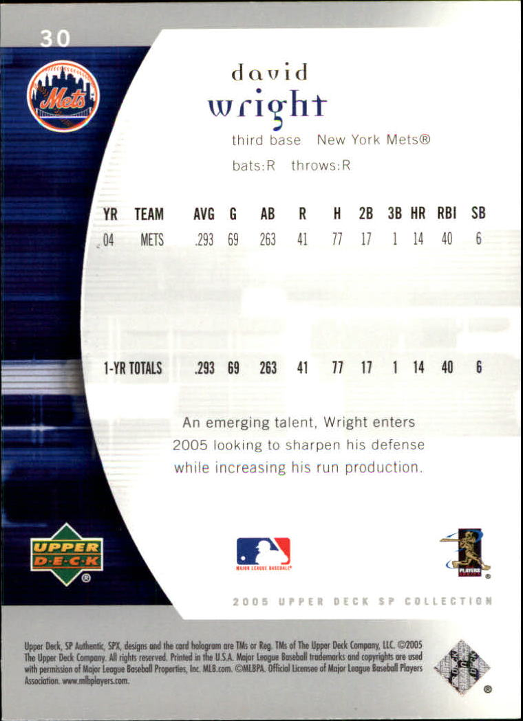 2005 SP Authentic #30 David Wright