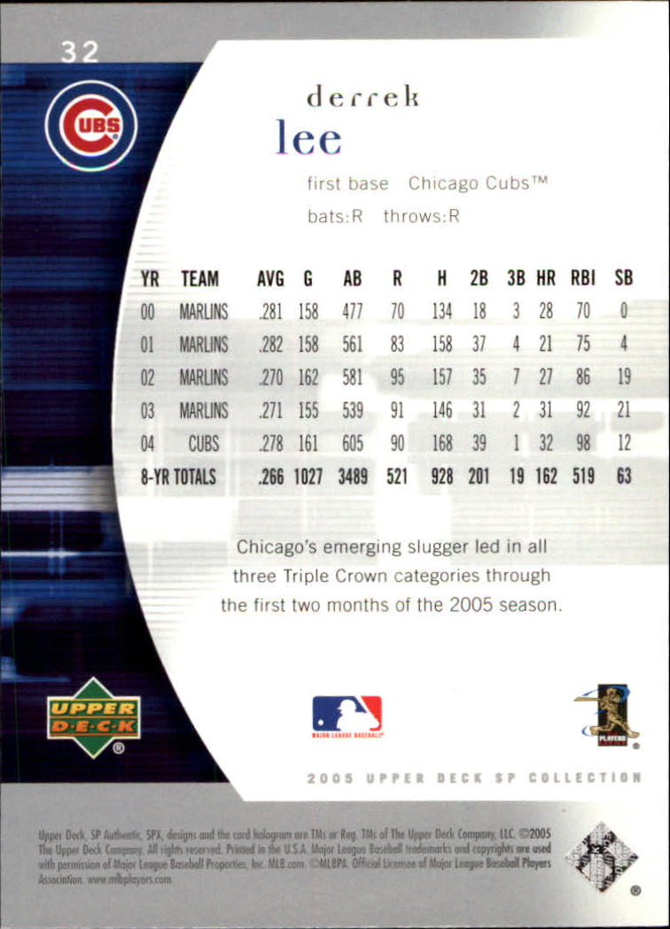 2005 SP Authentic #32 Derrek Lee back image