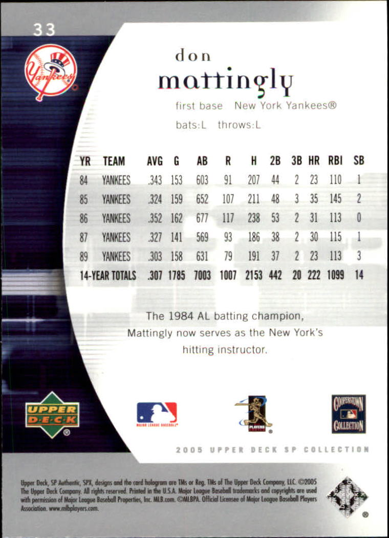 2005 SP Authentic #33 Don Mattingly back image