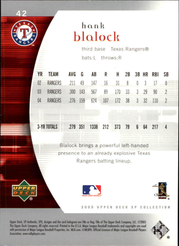 2005 SP Authentic #42 Hank Blalock