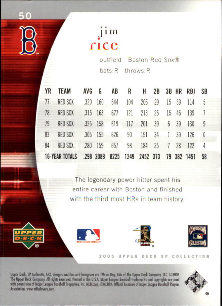 2005 SP Authentic #50 Jim Rice back image