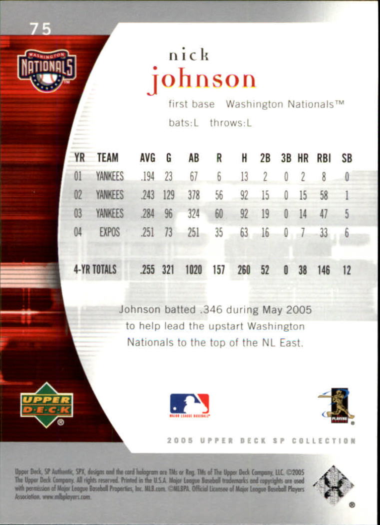2005 SP Authentic #75 Nick Johnson back image