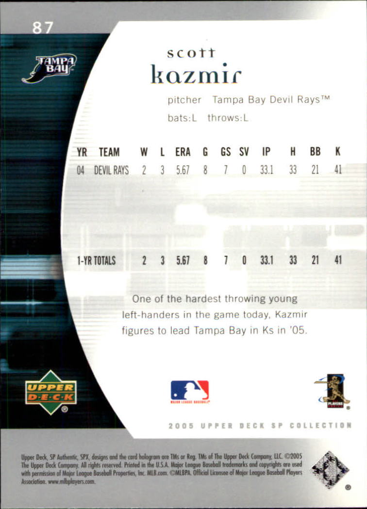 2005 SP Authentic #87 Scott Kazmir