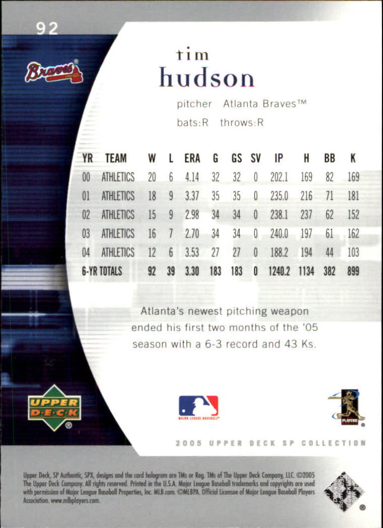 2005 SP Authentic #92 Tim Hudson back image