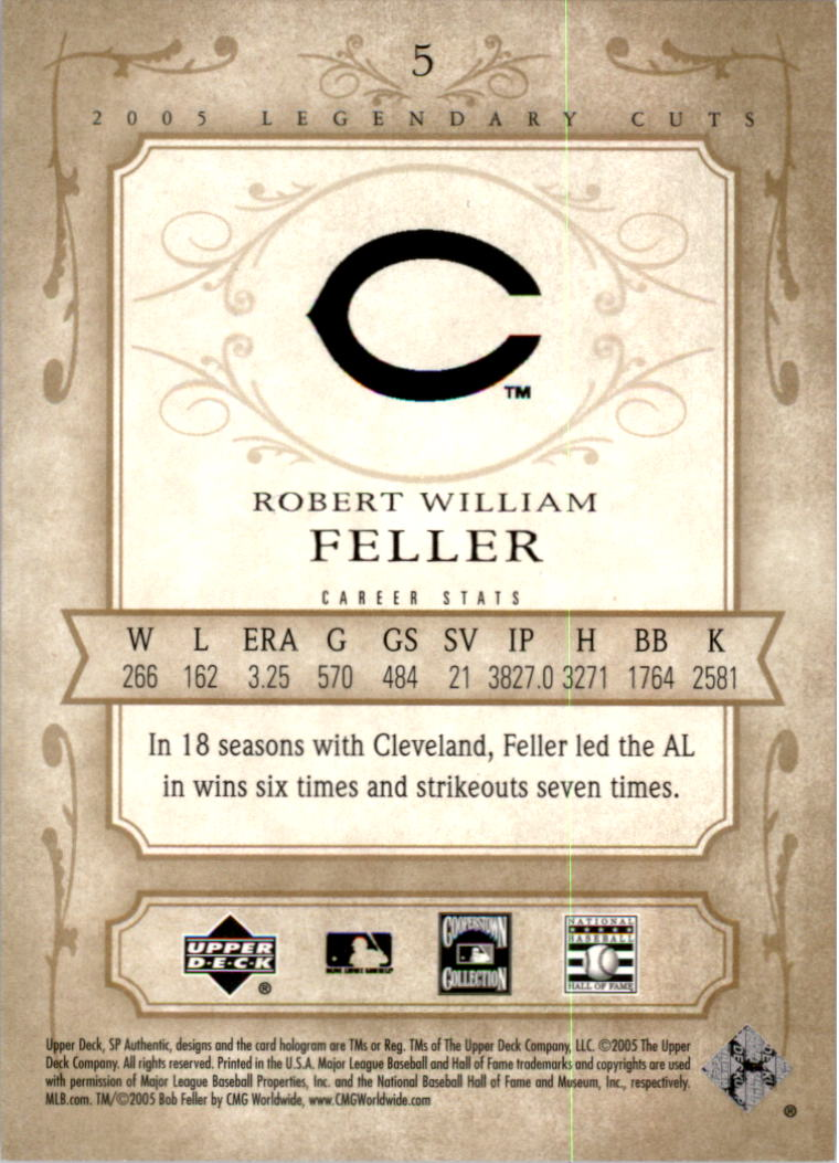 2005 SP Legendary Cuts #5 Bob Feller back image
