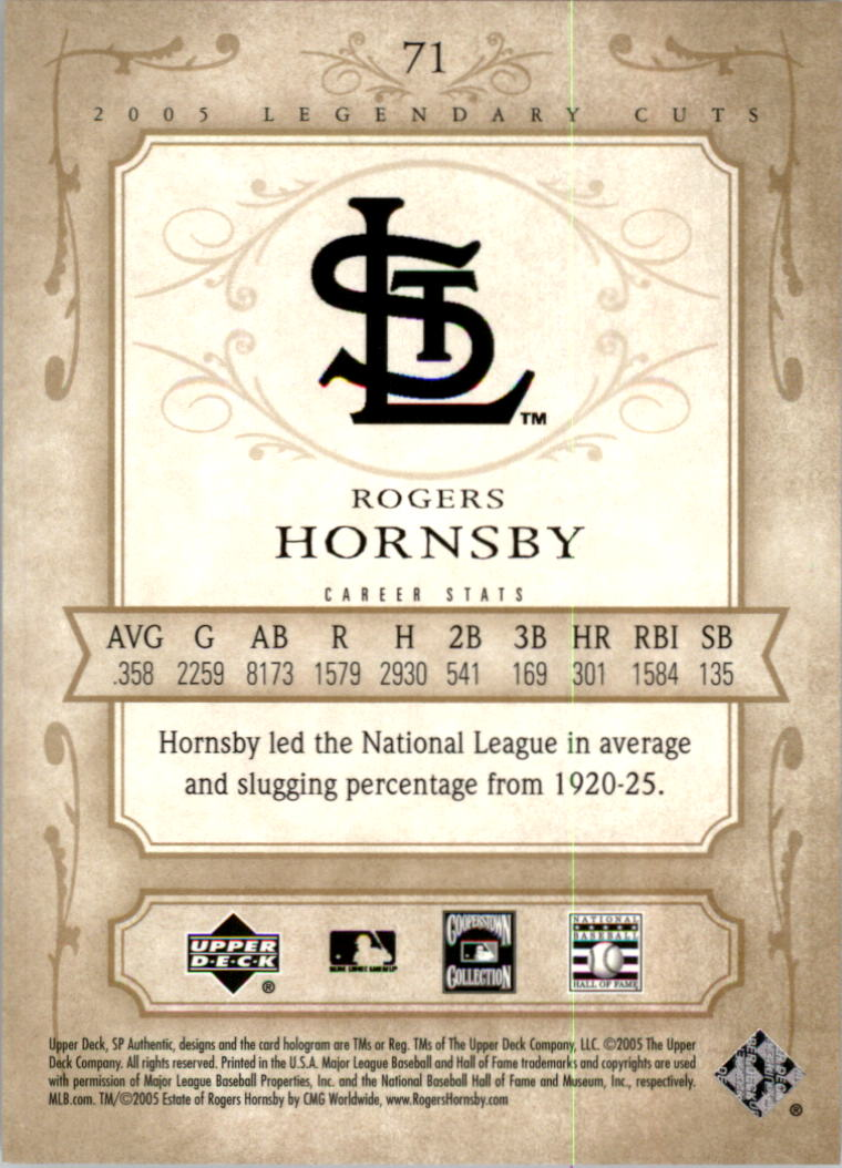 2005 SP Legendary Cuts #71 Rogers Hornsby back image