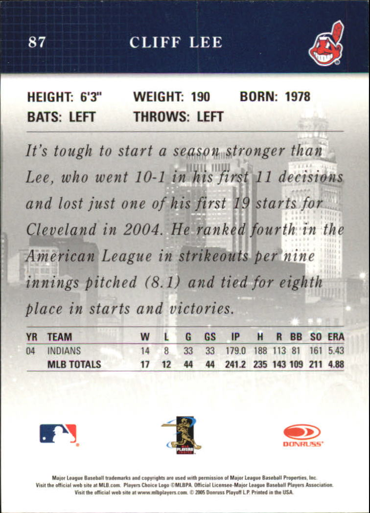 2005 Studio #87 Cliff Lee back image