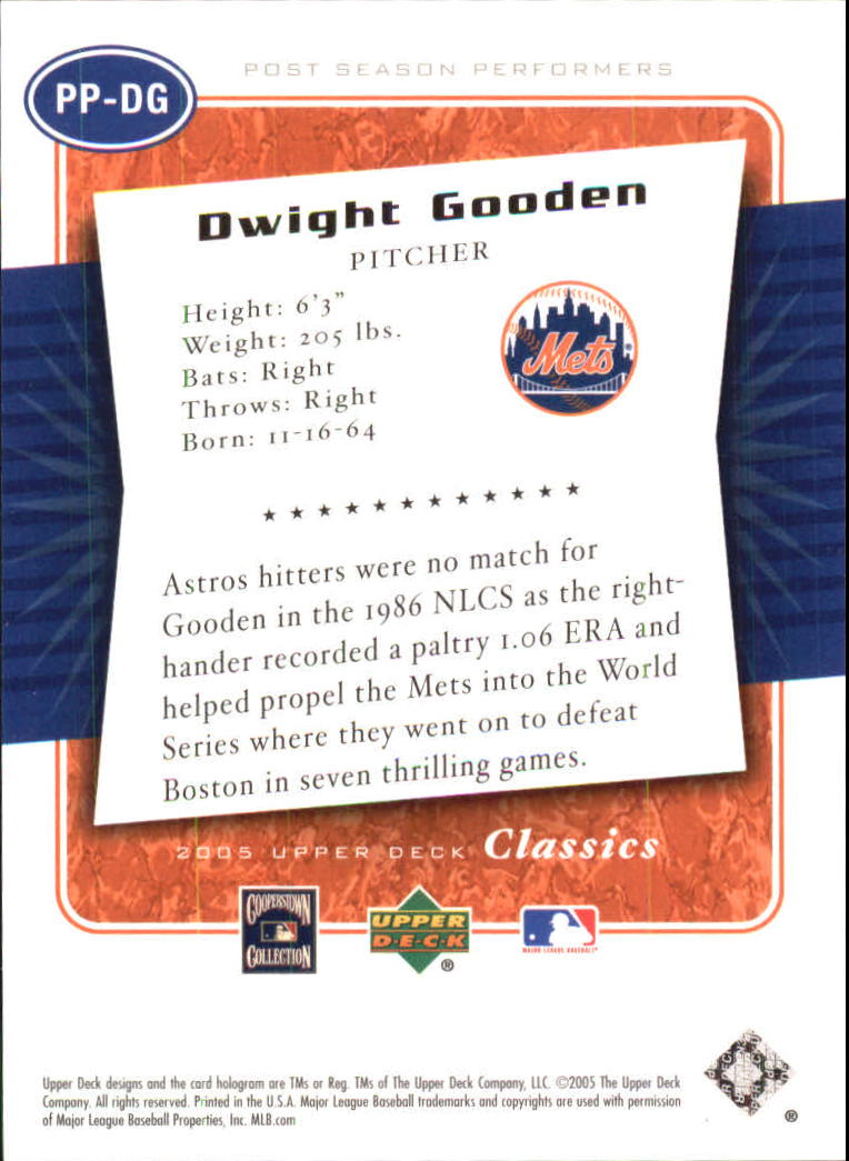 2005 Upper Deck Classics Post Season Performers #DG Dwight Gooden