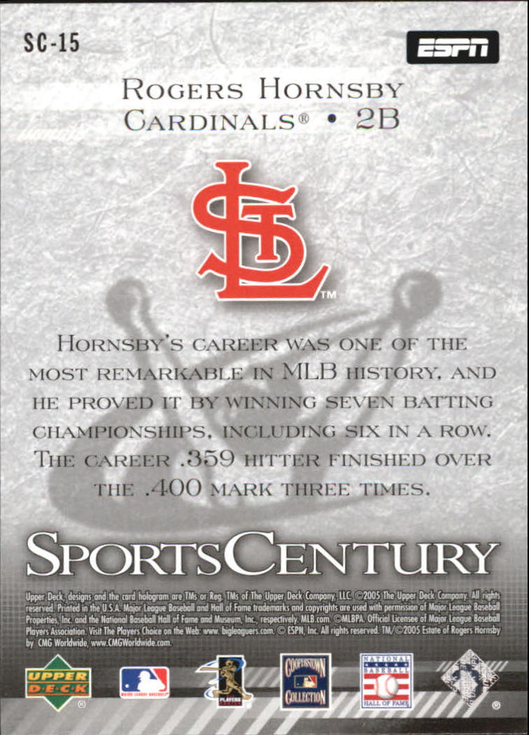 2005 Upper Deck ESPN Sports Century #SC15 Rogers Hornsby back image