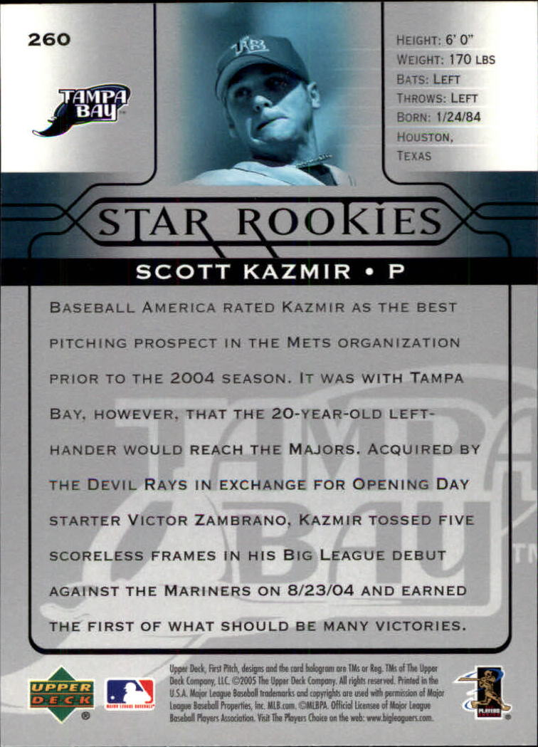 2005 Upper Deck First Pitch #260 Scott Kazmir SR back image