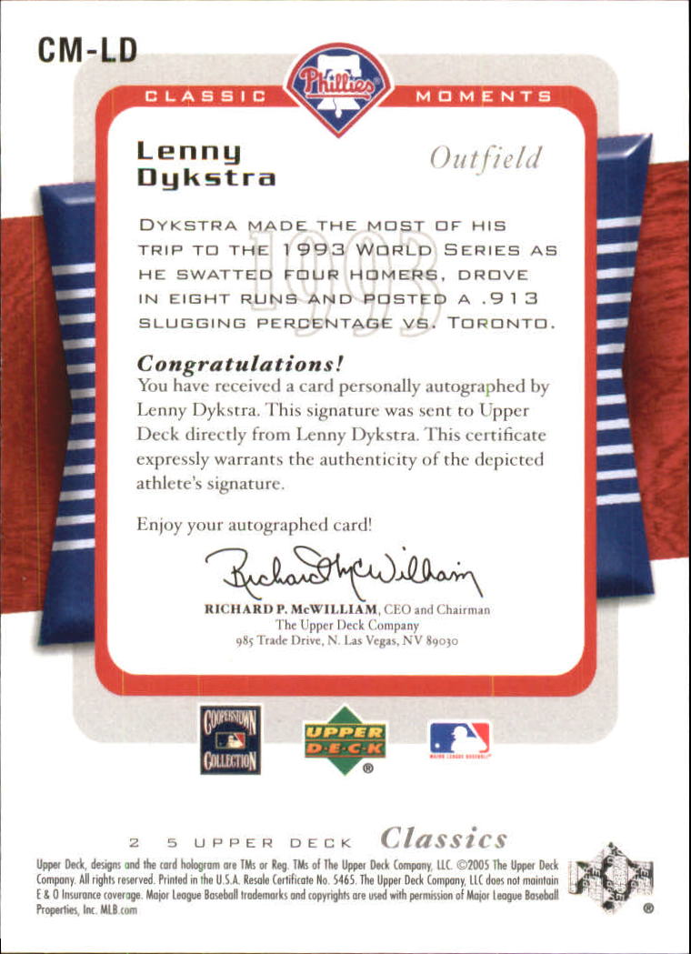 2005 Upper Deck Classics Moments Signatures #LD Lenny Dykstra T3