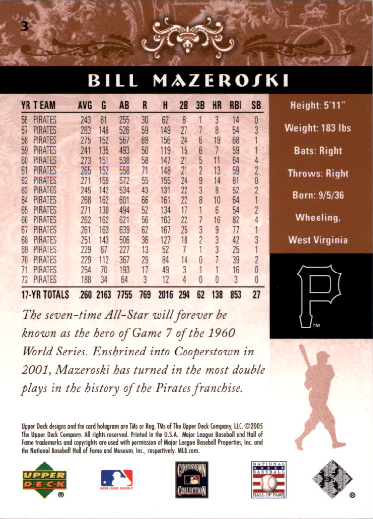 2005 Upper Deck Hall of Fame #3 Bill Mazeroski back image