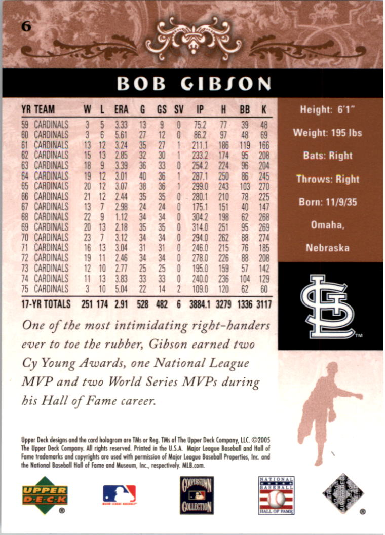 2005 Upper Deck Hall of Fame #6 Bob Gibson back image
