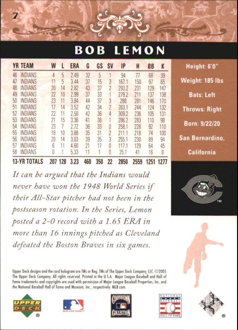 2005 Upper Deck Hall of Fame #7 Bob Lemon back image